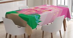 Peri Masalı Temalı Masa Örtüsü Çocuklar İçin Pembe