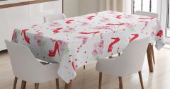 Kırmızı Ayakkabı Desenli Masa Örtüsü Pembe Çiçek