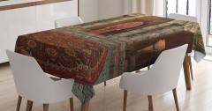 3D Etkili Masa Örtüsü Gotik Antik Oda Kahverengi