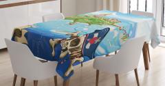 Korsan Adası Temalı Masa Örtüsü Mavi Deniz Kuru Kafa