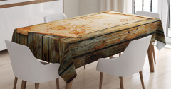 Antik Harita Desenli Masa Örtüsü Kahverengi Ahşap