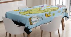 Hazine Haritası Temalı Masa Örtüsü Mavi Yeşil Deniz