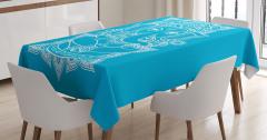 Beyaz Hint Tarzı Fil Desenli Masa Örtüsü Mavi Fonlu