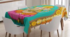 Hint Sarı Mavi Fil Desenli Masa Örtüsü Pembe Lotuslu