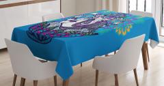 Rengarenk Çiçek ve Fil Desenli Masa Örtüsü Mavi Fon