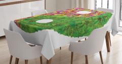 Yin Yang Sembolü Masa Örtüsü Yaprak Rengarenk Çiçek