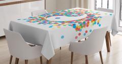 Rengarenk Masa Örtüsü  Yin Yang Sembolü Beyaz