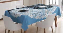 Çiçekli Yin Yang Sembolü Masa Örtüsü Mavi Beyaz