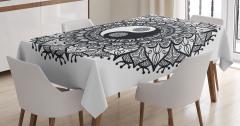 Siyah Beyaz Masa Örtüsü Yin Yang Sembollü Mandala