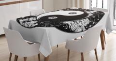 Siyah Beyaz Masa Örtüsü Yin Yang Sembolü Bulutlar