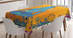 Tavus Kuşu ve Hint Tanrısı Desenli Masa Örtüsü Sarı