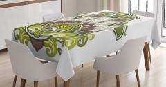 Büyük Fatımanın Eli Desenli Masa Örtüsü Yeşil Mor