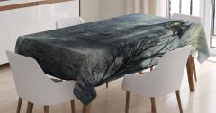 Perili Şato Temalı Masa Örtüsü Sonbahar Ağaçlar