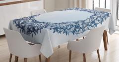 Deniz Kabuğu ve Çiçek Desenli Masa Örtüsü Mavi Beyaz