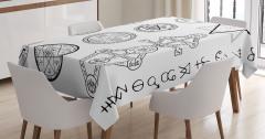 Mistik Sembol ve Pentagram Desenli Masa Örtüsü Beyaz