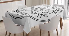 Gizli Büyü Sembolü Desenli Masa Örtüsü Siyah Beyaz