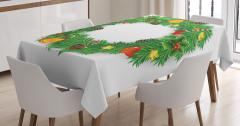 Yeşil Yılbaşı Çemberi Desenli Masa Örtüsü Beyaz Fon
