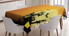 Cadılar Bayramı Temalı Masa Örtüsü Kahverengi Sarı
