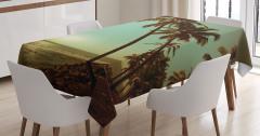 Tropikal Ada Temalı Masa Örtüsü Gün Batımı Yeşil