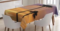 Romantik Gün Batımı Desenli Masa Örtüsü Turuncu Mor