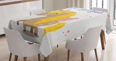Çocuk İçin Masa Örtüsü Tek Boynuzlu At Desenli Beyaz