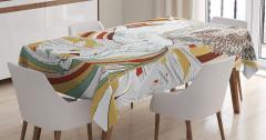 Çiçekli Unicorn Desenli Masa Örtüsü Fantastik Şık