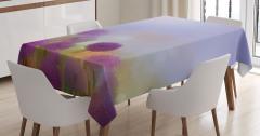 Mor Çiçek Desenli Masa Örtüsü Şık Tasarım Mavi
