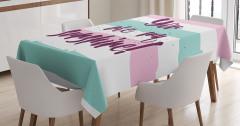 Aşk Temalı Masa Örtüsü Pembe Mavi Beyaz Şık Tasarım