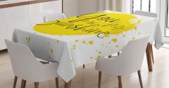 Aşk Temalı Masa Örtüsü Romantik Sarı Sulu Boya Şık