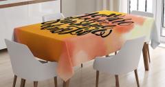 Sulu Boya Etkili Masa Örtüsü Aşk Temalı Şık Tasarım