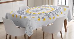 Sevgililer İçin Masa Örtüsü Sarı Lacivert Romantik