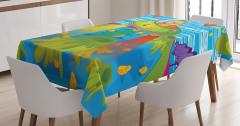 Canavar Desenli Masa Örtüsü Çocuklar İçin Mavi Trend