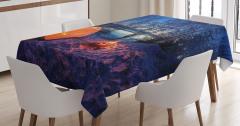 Kış Temalı Masa Örtüsü Göl Kenarında Kamp Ateşi Mavi