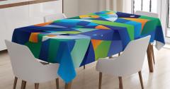 Rengarenk Balık Desenli Masa Örtüsü Modern Sanat