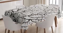 Kahverengi Masa Örtüsü Sarmaşık Dalları Beyaz