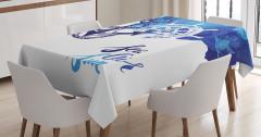 Şık Çapa ve Dümen Desenli Masa Örtüsü Mavi Lacivert