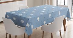 Mavi Deniz ve Balık Desenli Masa Örtüsü Çocuk İçin
