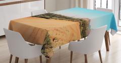 Çöl ve Kaktüs Desenli Masa Örtüsü Kahverengi Mavi