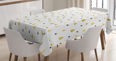 Sarı Beyaz Masa Örtüsü Yağmur Damlacıklı Şık Tasarım