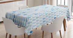 Mavi Beyaz Masa Örtüsü Yağmur Damlacıklı Şık Tasarım