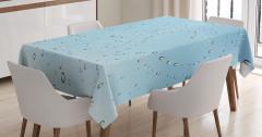 Yağmur Temalı Masa Örtüsü Romantik Sonbahar Mavi