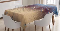 Yağmur Temalı Masa Örtüsü Buğulu Cam Etkili Sonbahar