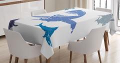 Rengarenk Köpek Balığı Desenli Masa Örtüsü Mavi Gri