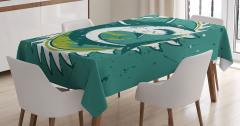 Yeşil Masa Örtüsü Köpek Balığı Şık Tasarım Beyaz