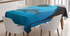 Sualtı Yaşam Temalı Masa Örtüsü Köpek Balığı Mavi