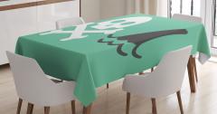 Yeşil Masa Örtüsü Kurukafa Köpek Balığı Siyah Beyaz
