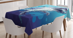 Köpek Balığı Desenli Masa Örtüsü Modern Sanat Mavi