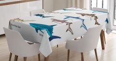 Köpek Balığı Türleri Kolajlı Masa Örtüsü Beyaz