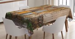 Terk Edilmiş Bina Temalı Masa Örtüsü Kahverengi