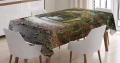 Terk Edilmiş Kale Temalı Masa Örtüsü Kahverengi